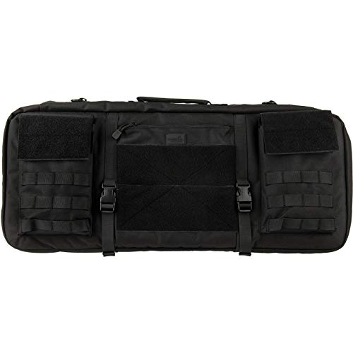 "Lancer Tactical Airsoft Gun Case 1 Lancer Tactical 1000D Nylon 3-Way Carry 29"" Double Rifle Gun Bag Black Firearm Backpack Pistol Handgun Case"
