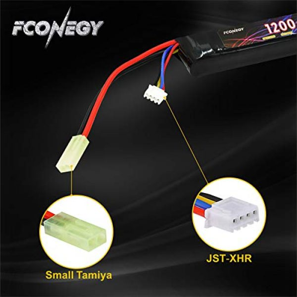 FCONEGY Airsoft Battery 4 FCONEGY 3S 11.1V 1200mAh 20C Lipo Battery Pack with Small Tamiya Plug for Airsoft Gun/Rifle