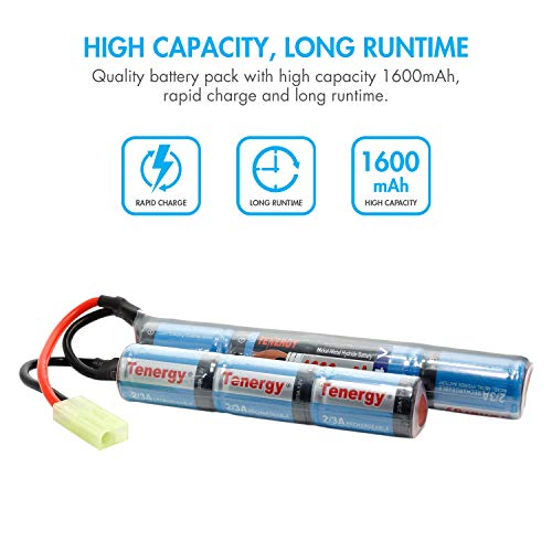 Tenergy Airsoft Battery 4 Tenergy 8.4V Airsoft Battery 1600mAh NiMH Nunchuck Battery w/Mini Tamiya Connector High Discharge Rate Stick Shape Butterfly Battery for Airsoft Gun M4 Rifles
