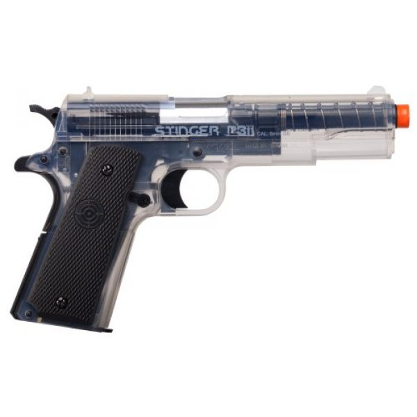 Game Face Airsoft Pistol 1 GameFace ASP311C Stinger P311C Spring-Powered Single-Shot Military-Style Airsoft Pistol, Clear/Black