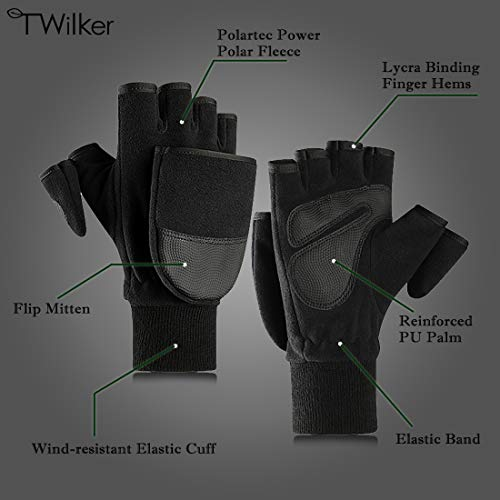 T WILKER Airsoft Glove 2 T WILKER Fleece Convertible Mittens Flip Fingerless Gloves for Men&Women Photography Fishing Outdoor Windproof Mitt