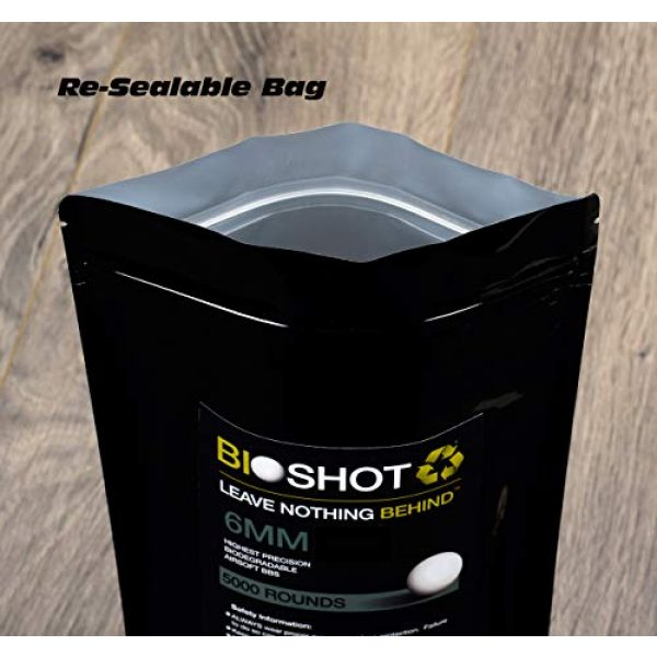 BioShot Airsoft BB 5 BioShot 8mm Biodegradable Airsoft BBS .34g Competition MatchGrade (1500 Rounds) Note: These are 8mm BBS. Please do not Purchase Unless You Know You Need an 8mm Round.