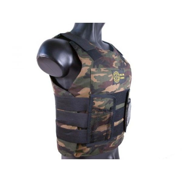 BBTac Airsoft Tactical Vest 3 BBTac Airsoft Protection Vest, Padded Cushion (Woodland Camo)