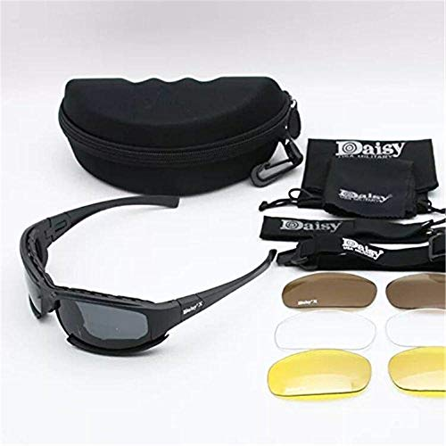 ZoliTime Airsoft Goggle 7 Daisy x7 Polarized Outdoor Tactical Sunglasses Windproof Military 4 Lens Kit Tactical Goggles