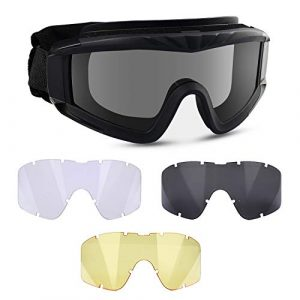 Flantor Airsoft Goggle 1 Flantor Airsoft Goggles -Outdoor Tactical Goggles Safety Anti Fog Goggles Military Goggle Glasses with 3 Interchangable Lenses & UV400 Protection for Paintball Hunting shotting Cycling