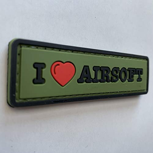 uuKen Airsoft Tactical Vest 2 uuKen Sweety I Love Airsoft Tab PVC Rubber Tactical Morale Patch 3.3x1 inch with Hook Fastener Backing for Operator Caps Military Uniform (Green)