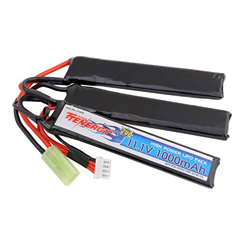 Tenergy Airsoft Battery 1 Tenergy Airsoft Battery 11.1V 1000mAh LiPo Battery Pack 20C High Discharge Rate Crane Stock Battery Pack Split Type w/Mini Tamiya Connector Rechargeable Hobby Battery Pack for Airsoft Guns