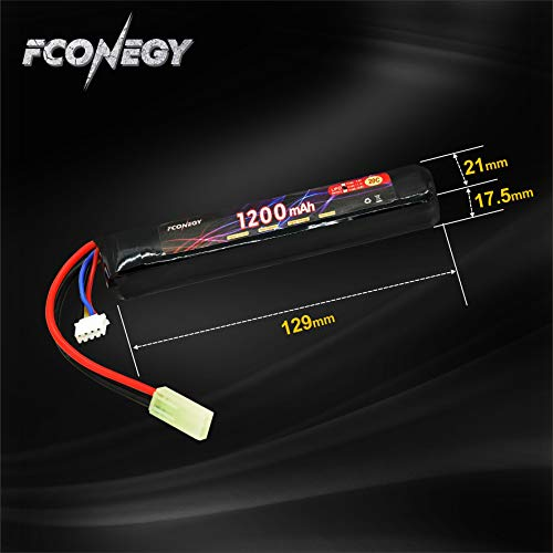 FCONEGY Airsoft Battery 3 FCONEGY 3S 11.1V 1200mAh 20C Lipo Battery Pack with Small Tamiya Plug for Airsoft Gun/Rifle