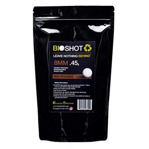 BioShot Airsoft BB 1 BioShot 8mm Biodegradable Airsoft BBS .45g Competition MatchGrade (1500 Rounds) Note: These are 8mm BBS. Please do not Purchase Unless You Know You Need an 8mm Round. No Returns for Wrong Size BB.