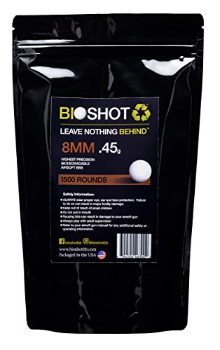 BioShot Airsoft BB 1 BioShot 8mm Biodegradable Airsoft BBS .45g Competition MatchGrade (1500 Rounds) Note: These are 8mm BBS. Please do not Purchase Unless You Know You Need an 8mm Round.