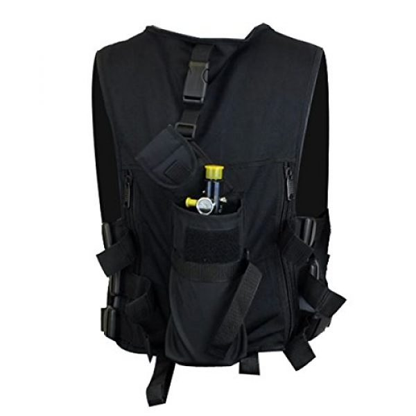 Maddog Airsoft Tactical Vest 5 Maddog Lightweight Tactical Paintball Sport Vest | Holds 4 Pods & Tank Up to 90ci