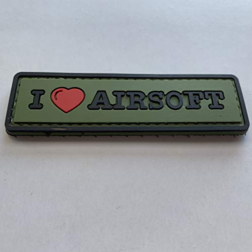 uuKen Airsoft Tactical Vest 3 uuKen Sweety I Love Airsoft Tab PVC Rubber Tactical Morale Patch 3.3x1 inch with Hook Fastener Backing for Operator Caps Military Uniform (Green)