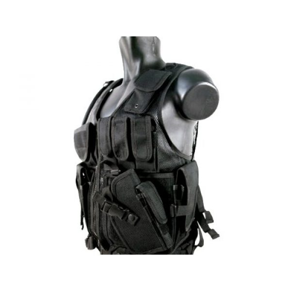 MetalTac Airsoft Tactical Vest 2 MetalTac Airsoft Cross Draw Tactical Vest with 9 Pockets and Pistol Holster