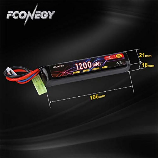FCONEGY Airsoft Battery 3 FCONEGY 2S/3S 7.4V/11.1V 1200mAh 20C Lipo Battery Pack with Small Tamiya Plug for Airsoft Gun/Rifle