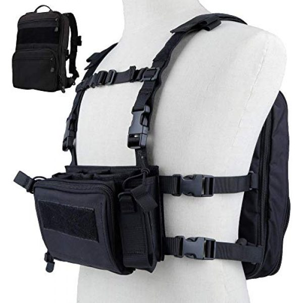 Tactical Area Airsoft Tactical Vest 1 Tactical Chest Rack, Airsoft Assault Box rig Military Vest, with Molle Flatpack Backpack