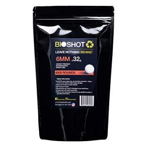 BioShot Airsoft BB 1 BioShot Biodegradable Airsoft BBS - .32g Super Slick Seamless Competition Match Grade for All 6mm Airsoft Guns and Accessories (4000 Rounds, White)