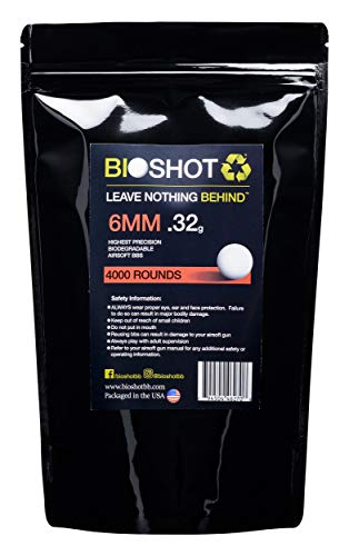 BioShot Airsoft BB 1 BioShot Biodegradable Airsoft BBS - .32g Super Slick Seamless Competition Match Grade for All 6mm Airsoft Guns and Accessories (4000 Rounds