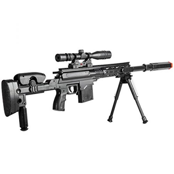 BBTac Airsoft Rifle 4 BBTac Airsoft Sniper Gun Package - Powerful Spring Sniper Rifle, Shotgun, 6mm BB Pellets, Great Starter Pack