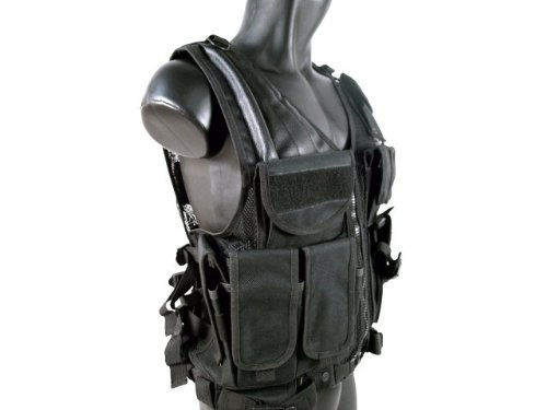 MetalTac Airsoft Tactical Vest 3 MetalTac Airsoft Cross Draw Tactical Vest with 9 Pockets and Pistol Holster