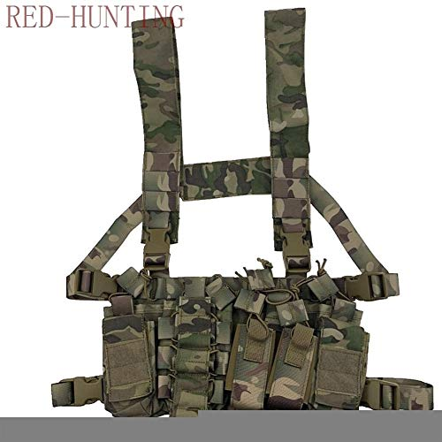 Vioaplem Airsoft Tactical Vest 3 Vioaplem Multicam Tactical Molle Vest Ammo Chest Rig Removable Hunting Airsoft Paintball Gear Vest with AK 47/74 Magazine Pouch