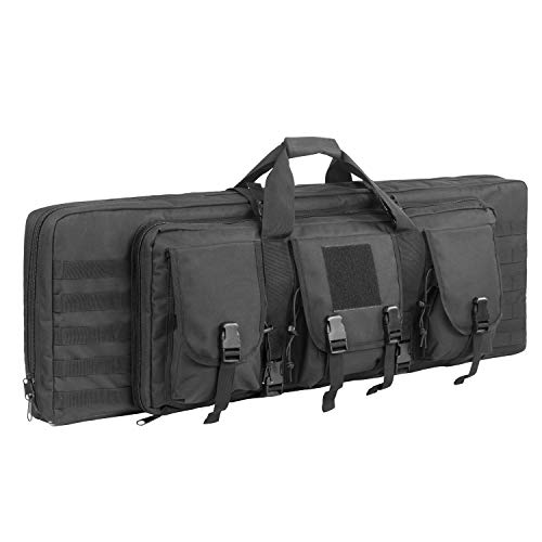 Fox Tactical Airsoft Gun Case 1 Fox Tactical 38 42 Inch Double Long Rifle Gun Case Bag Outdoor Tactical Carbine Cases Water Dust Resistant Fireproof for Hunting Shooting (Black