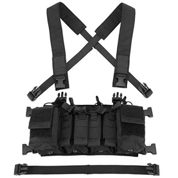 Jadedragon Airsoft Tactical Vest 5 Jadedragon Tactical Chest Vest with Drop Pouch Sub Abdominal Carrying Kit Bag and Multi-Pockets for Airsoft Shooting Wargame Paintball