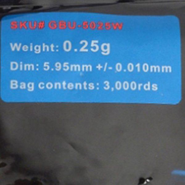GoldenBall Airsoft BB 2 GoldenBall 0.25g MaxSlick Series Professional Sport Airsoft 6mm JDM Spec Japanese Domestic Market Grade Performance BBS - White - 3000rd Bag