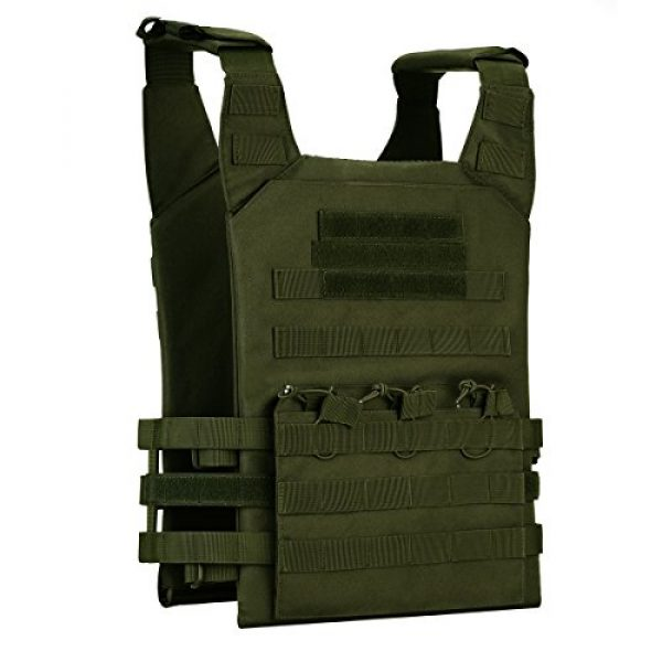 Unistrengh Airsoft Tactical Vest 2 UNISTRENGH Tactical Molle Vests Airsoft Paintball Breathable Adjustable Ultralight Assault Swat Vest with Detachable EVA Protective Safety Guard