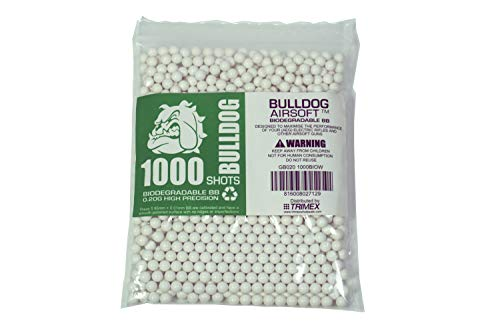 BULLDOG AIRSOFT Airsoft BB 3 Bulldog - [1000] Airsoft Pellets [0.20g] Biodegradable [6mm White] Triple Polished [Pro Team Grade]