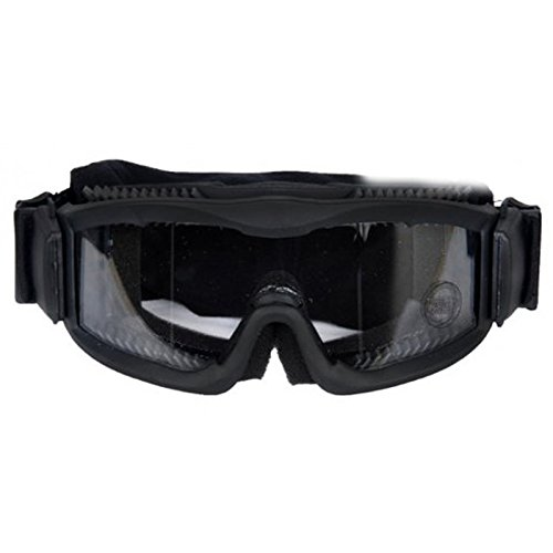 AKT Airsoft Goggle 2 Outdoor Tactical Vented Safety Airsoft Goggles CS Paintball Glasses Interchangeable 3 Lens Kit(Black)