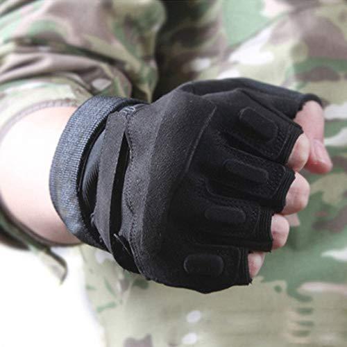 Military Ba Airsoft Glove 7 Military Ba Men's Black Special Ops 1/2 Finger Light Assault Gloves Tactical Fingerless Half Finger Gloves-M Black