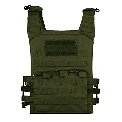 Unistrengh Airsoft Tactical Vest 1 UNISTRENGH Tactical Molle Vests Airsoft Paintball Breathable Adjustable Ultralight Assault Swat Vest with Detachable EVA Protective Safety Guard