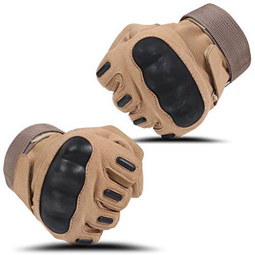 HIKEMAN Airsoft Glove 4 HIKEMAN Army Tactical Gloves Outdoor Full Finger and Half Finger Military Rubber Hard Knuckle Airsoft Paintball Gloves for Motorcycle Cycling Hunting Shooting Hiking Camping