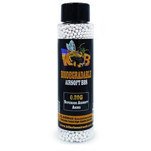Killer Bee Airsoft Airsoft BB 1 Biodegradable Airsoft BBS 0.20g 6mm BBS 4,400 Ct Bottle. Perfect 6mm Bio BBS for Airsoft. Superior 6mm bio BBS for Airsoft Guns. Best for Entry-Level AEG, HPA, Spring, and GBB