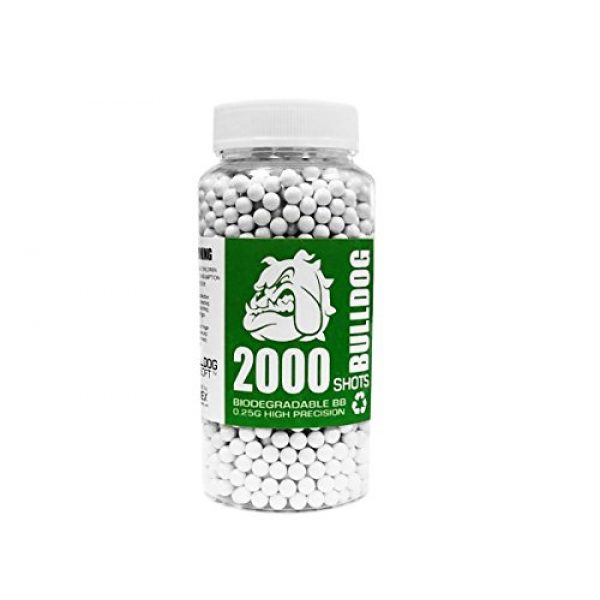 BULLDOG AIRSOFT Airsoft BB 1 Bulldog 2000 Airsoft Pellets [0.25g] Biodegradable [6mm White] Triple