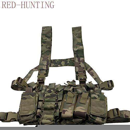 Vioaplem Airsoft Tactical Vest 2 Vioaplem Multicam Tactical Molle Vest Ammo Chest Rig Removable Hunting Airsoft Paintball Gear Vest with AK 47/74 Magazine Pouch