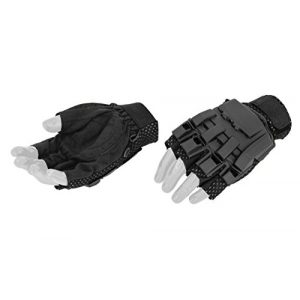 UKARMS Airsoft Glove 1 UKArms Airsoft AC-222M Tactical Armored Half Finger Glove Set Medium - Black