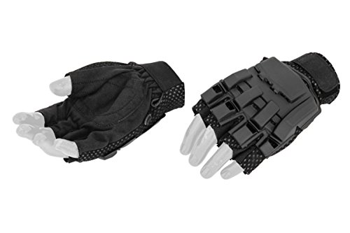 UKARMS Airsoft Glove 1 UKArms Airsoft AC-222M Tactical Armored Half Finger Glove Set Medium - Black