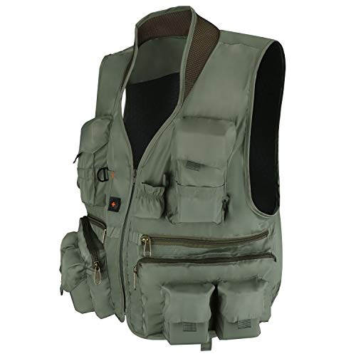 Anglerbasics  2 Anglerbasics Army Green Multifunction Airsoft Tactical Vest Quick Dry Multi Pockets Mesh Breathable Active Military wear Jacket- Fits for All Outdoor Sports