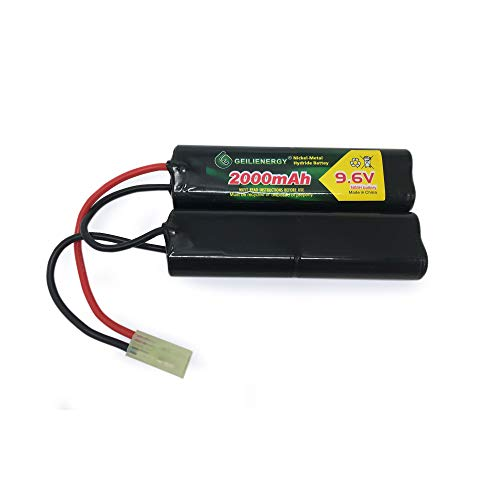 GEILIENERGY Airsoft Battery 1 GEILIENERGY 9.6V Airsoft Battery 2000mAh NiMH Nunchuck Battery w/Mini Tamiya Connector Compatible for Airsoft Guns M249