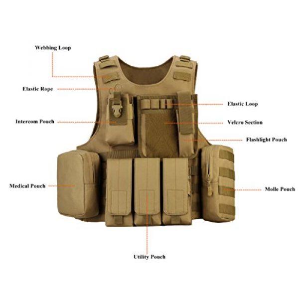 ArcEnCiel Airsoft Tactical Vest 4 ArcEnCiel Tactical Molle Vest, Coyote Brown