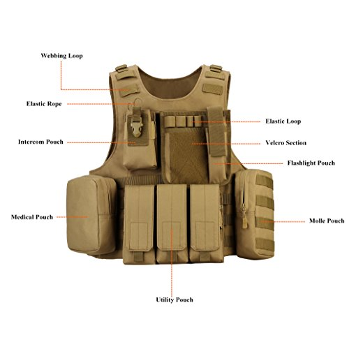 ArcEnCiel Airsoft Tactical Vest 4 ArcEnCiel Tactical Molle Vest, Coyote Brown
