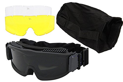 AKT Airsoft Goggle 4 Outdoor Tactical Vented Safety Airsoft Goggles CS Paintball Glasses Interchangeable 3 Lens Kit(Black)