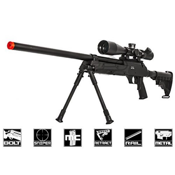 Well Airsoft Rifle 1 Well Full Metal ASR MB06 SR-2 Bolt Action Sniper Rifle Airsoft Gun (Black/ Bipod Package)