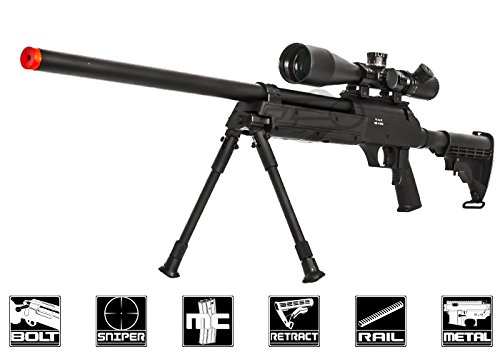Well  1 Well Full Metal ASR MB06 SR-2 Bolt Action Sniper Rifle Airsoft Gun (Black/ Bipod Package)