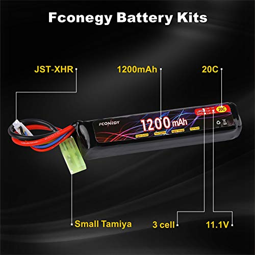 FCONEGY Airsoft Battery 2 FCONEGY 2S/3S 7.4V/11.1V 1200mAh 20C Lipo Battery Pack with Small Tamiya Plug for Airsoft Gun/Rifle
