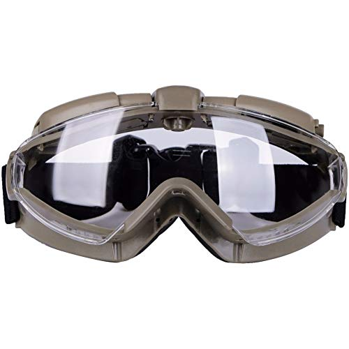 DONGKER Airsoft Goggle 1 DONGKER Tactical Anti-Fogging Goggles with Fan Airsoft Outdoor Shock Resistance Cycling Ultraviolet Protection Eyewear Transparent Lens