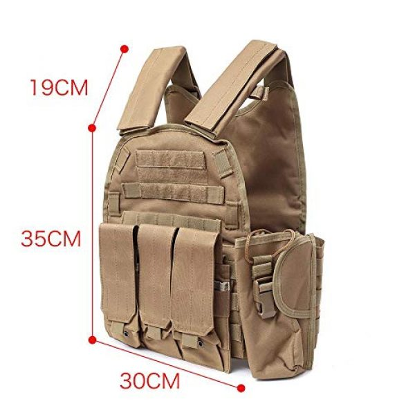 DMAIP Airsoft Tactical Vest 3 DMAIP Hunting Molle Tactical Vest Combat Security Training Tool Pouch Modoular Protective Durable Waistcoat for Outdoor Paintball CS Game Airsoft Climbing Hiking
