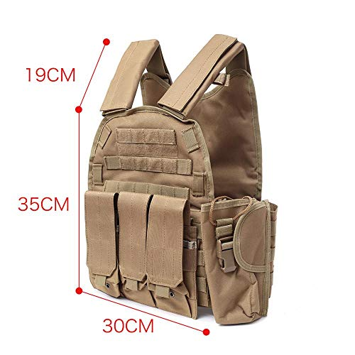 DMAIP  3 DMAIP Hunting Molle Tactical Vest Combat Security Training Tool Pouch Modoular Protective Durable Waistcoat for Outdoor Paintball CS Game Airsoft Climbing Hiking