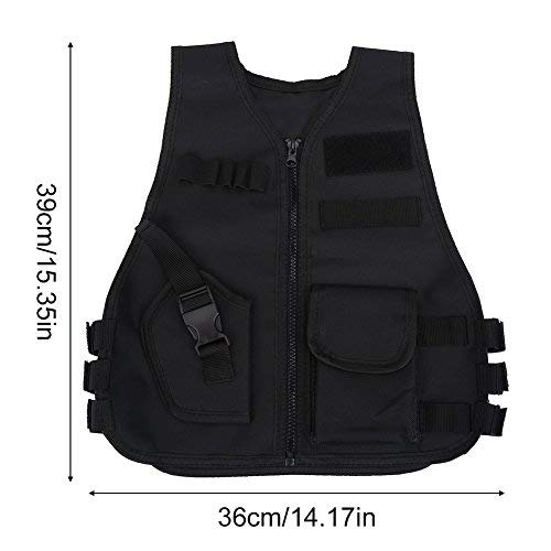 Vbestlife Airsoft Tactical Vest 6 Children Tactical Vest Black Children Kids Security Guard Waistcoat Cs Field Combat Training Military Army Tactical Vest Oxford Boys Costumes Games Protective Jacket Vest